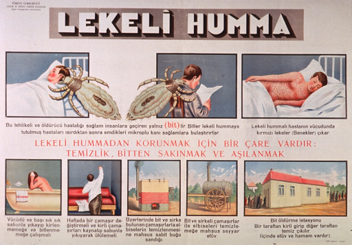 <p>Predominantly white poster with multicolor lettering.  Publisher information in upper left corner.  Title at top of poster.  Visual images are illustrations of giant lice, a man being bitten and then sick with a rash, a woman bathing, a man getting dressed in clean clothes, a furnace, and two fumigation systems.  Text appears to explain spotted fever and the role of hygiene in preventing its spread.</p>