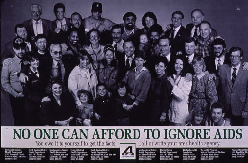 <p>Predominantly black and white poster with multicolor lettering.  Visual image is a b&amp;w photo reproduction featuring a diverse group of people.  Title and caption below photo.  Publisher information at bottom of poster, along with contact information for several health agencies throughout the state.</p>