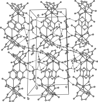 The crystal packing of the compound (I), hydrogen bonds are shown as dashed lines.