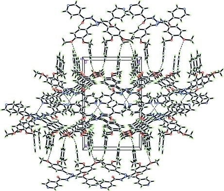The crystal packing of the title compound, viewed along the c axis. Hydrogen bonds are shown as dashed lines.