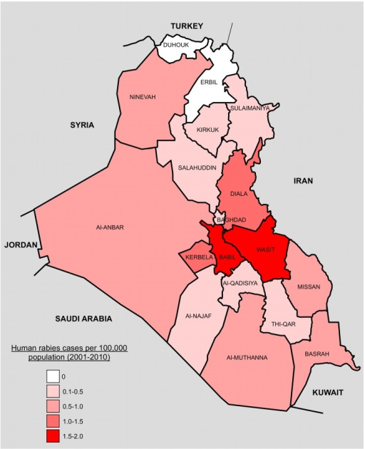 Map showing 18 Governorates of Iraq and bordering countries.Governorates are coloured by number of human rabies cases per 100,000 population 2001–2010. Population estimates were taken from a recent household survey [13]. Governorate and country boundaries are approximate.