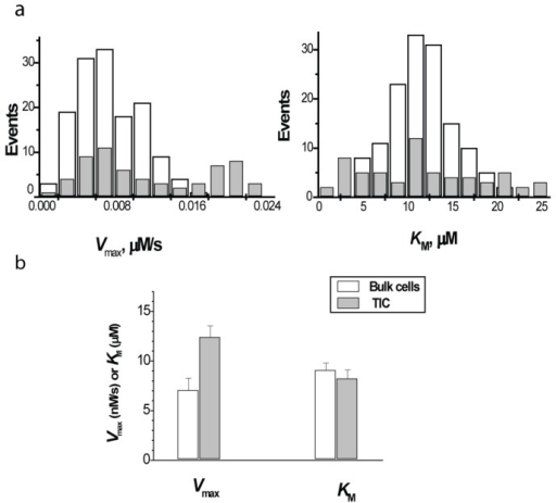 Kinetic and immunophenotyping analysis of 4T1 TICs and bulk cells: (a) histograms of distribution of Michaelis parameters within CD44high/CD24low cells (gray bars) and bulk cells (white bars); (b) cumulative data summarizing Michaelis parameters in CD44high/CD24low cells (gray bars) and bulk cells (white bars) in 4 independent experiments (total 709 cells, p < 0.02 for Vmax).