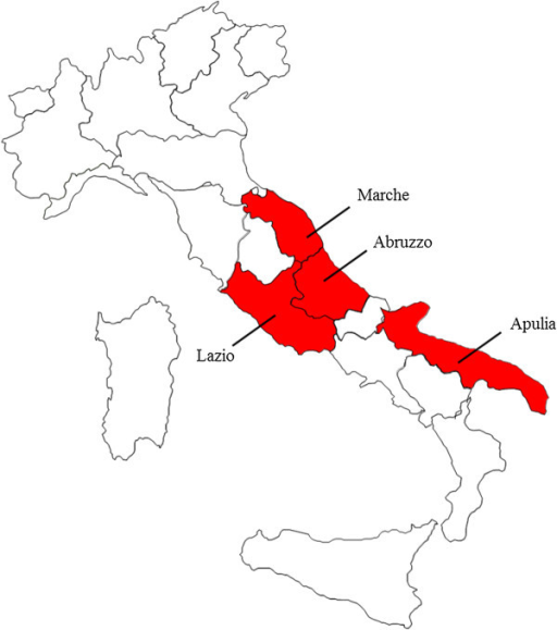 Map of Italy. Regions included in the study are indicated.