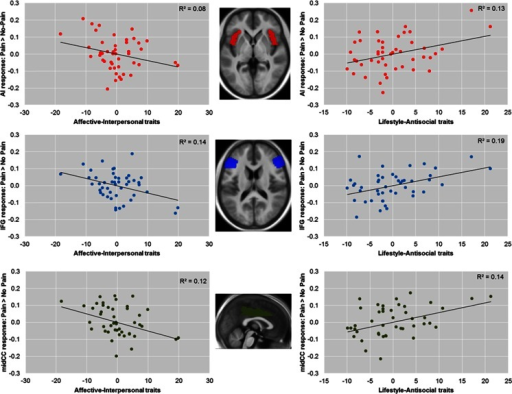 Partial regression plots showing opposing relationships between response to pain > no-pain in bilateral anterior insula (AI), inferior frontal gyrus (IFG), and midcingulate cortex (midCC), as well as unique variances associated with affective-interpersonal and lifestyle-antisocial psychopathic traits after the other dimension had been controlled for (a similar pattern was also seen in the anterior cingulate cortex [ACC], adjacent to midCC). (Left) Negative relationships between blood oxygenation-level-dependent (BOLD) response to pain > no-pain and affective-interpersonal traits after controlling for the effect of lifestyle-antisocial traits. (Right) Positive relationships between BOLD response to pain > no-pain and lifestyle-antisocial traits after controlling for the effect of affective-interpersonal traits. R2 reflects the partial correlation coefficients of determination. The insets show horizontal and midsagittal sections of the bilateral AI (z = 0), IFG (z = 15), and midCC (x = 0) regions of interest, overlaid on an average T1 structural image from all participants