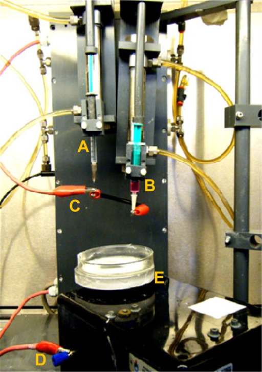 Electrospinning and bioelectrospraying association apparatus.Notes: (A) Polymer solution, (B) cell suspension, (C) positive electrode, (D) negative electrode, and (E) Petri dish on rotating collector plate.