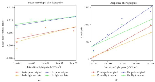 Decay rate of amplitude after exposure to light pulses of different duration (15 minutes or 1 hour) and light intensities. Decay rate and amplitude are shown for the different length of light pulse and intensities of light. Additionally, the first complete cycle of the original detrended data was ignored for the cut data set.