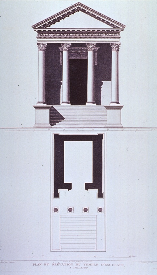 <p>Floor plan and elevation for a temple building.</p>