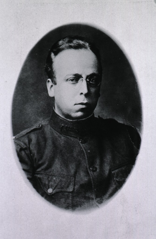 <p>Head and shoulders, full face; wearing uniform; in oval.</p>