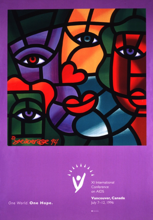 <p>Lavender poster with white lettering, illustrated at the top with a reproduction of a 1994 cubist painting by Joe Average.  The multicolor painting is of several abstract faces.</p>