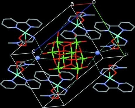 Crystal packing of the title compound. The ammonium ions are drawn as ball. Dotted lines denote hydrogen bonds.