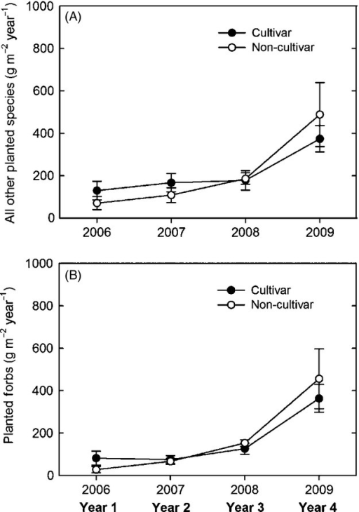 Average (± standard error) aboveground net primary productivity of (A) planted species excluding the dominant grasses and (B) all planted forbs each year in the cultivar and local ecotype dominant grass treatments.