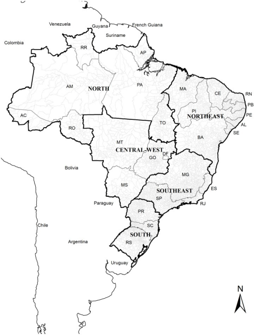 Brazil with its regions and 27 Federative Units.