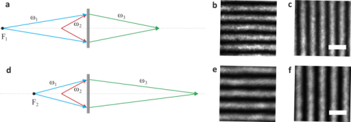 Optical controlling a nonlinear magnifying flat lens.a,d, Schematic of a nonlinear magnifying flat lens with the pump distance F1 = −10 cm, F2 = −6 cm. b,c, Magnified images of the gratings formed by the nonlinear magnifying flat lens in a with magnification 1.31. e,f, Magnified images of the gratings formed by the nonlinear magnifying flat lens in d with magnification 1.58. The scale bar is 10 μm.