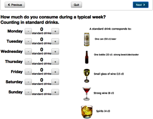 Screenshot of AMADEUS: assessment of weekly drinking.