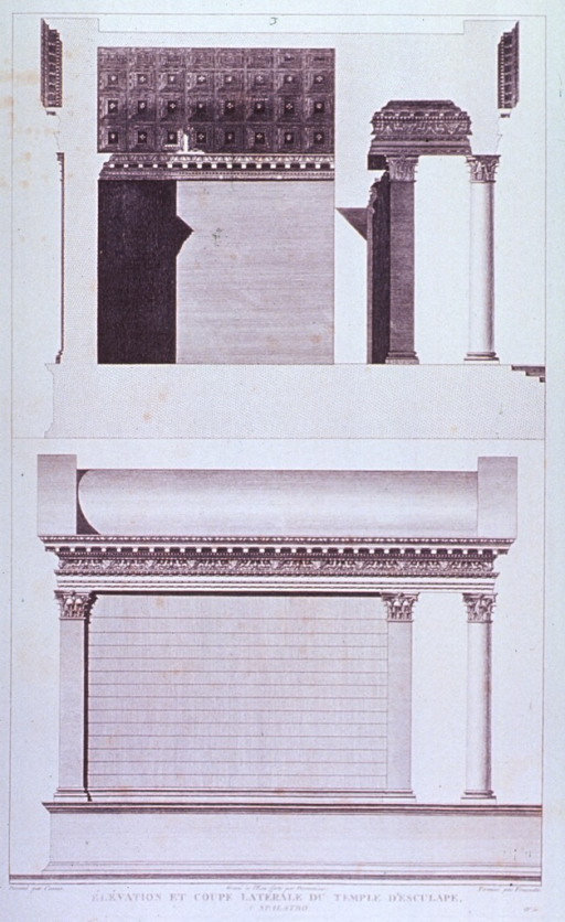 <p>Elevation and side views (interior and exterior) of a temple building.</p>