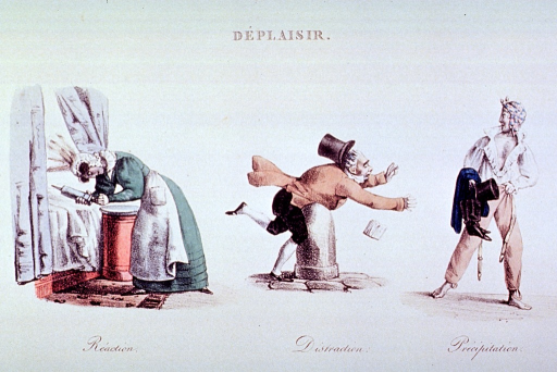 <p>Caricature on the displeasure resulting from sudden or unplanned events:  To the left a woman administers a clyster; center, a man walks into a stationary object; right, a man with wet clothing.</p>