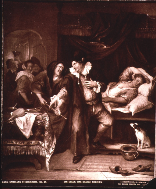 <p>Interior scene where a sick woman in bed is about to be given a clyster.</p>