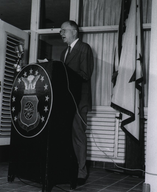 <p>Full length, standing, delivering dedicatory address at new Air Force Hospital in Bermuda.</p>