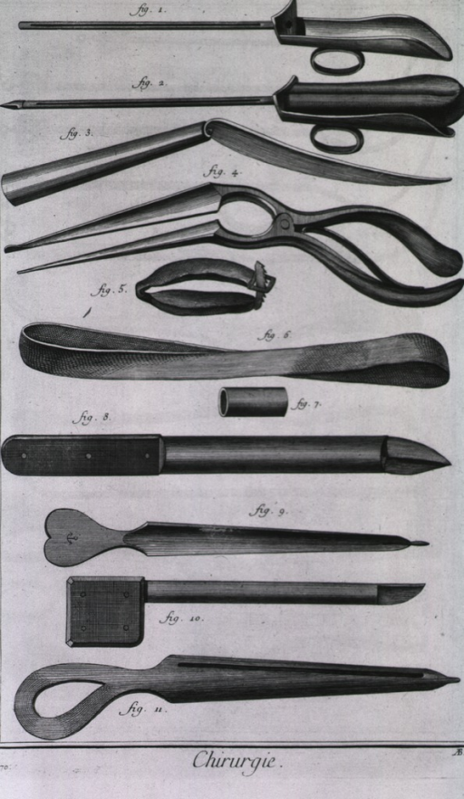 <p>Instruments and equipment for cystotomies designed by Foubert and Le Dran include stylets, lithotomes, a small bandage for the astriction of the urethra, bonds, and a conductor.</p>