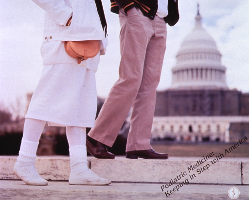 <p>Multicolor poster with black lettering.  Entire poster is a reproduction of a color photo.  Photo shows two people walking, with the Capitol in the background.  View is only from the waist down to focus on feet.  Title on a diagonal near lower right corner.  Publisher logo in lower right corner.</p>