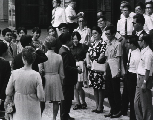 <p>Japanese Prince and Princess visit NIH in Sept. 1971.  They are shown here meeting with Japanese NIH staff members.</p>
