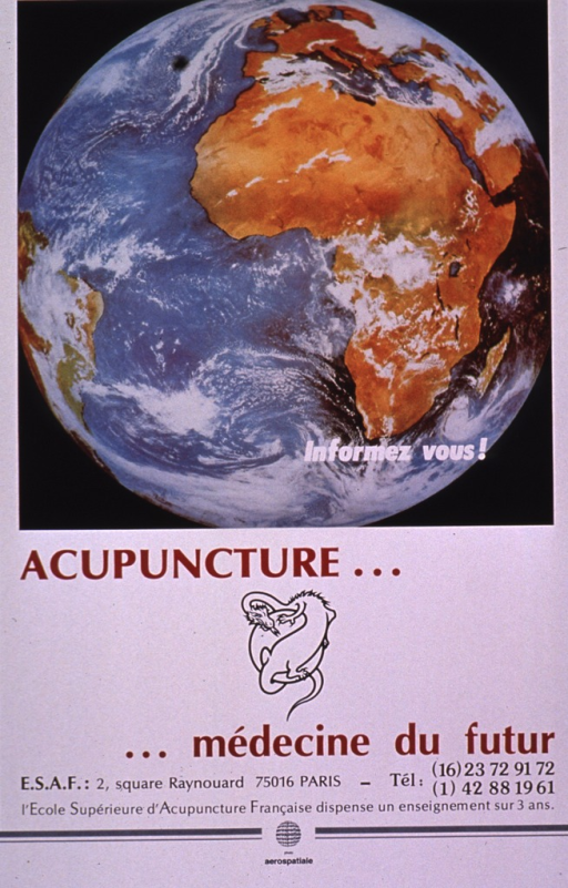 <p>Predominantly white poster with burgundy and black lettering.  Visual image is a color photo reproduction showing the earth, as if viewed from space.  Caption superimposed on photo urges becoming informed.  Title and publisher information below photo.  A logo featuring a dragon wrapped around a sphere separates the two phrases of the title.  Note text at bottom of poster indicates that the publisher, an acupuncture school, grants a degree in three years.</p>