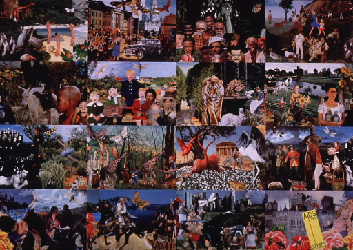 <p>Multicolor poster with black lettering.  Title in lower right corner, with phone number for the AIDS hotline.  Visual image is a collage of photo and art reproductions and illustrations depicting both real and imaginary people, places, and things from a variety of time periods.</p>