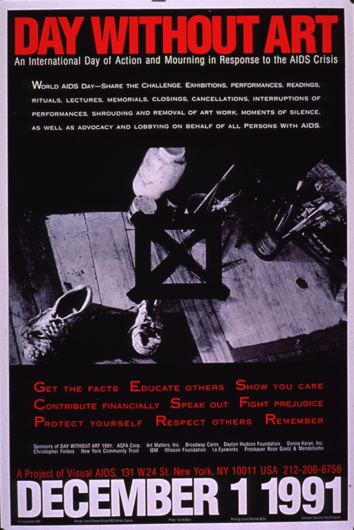 <p>Predominantly black poster with red and white lettering.  Title at top of poster.  Initial caption text below title.  Visual image is a b&amp;w photo reproduction depicting a painter's work space, complete with brushes, paints, and spattered sneakers.  A black box and an &quot;x&quot; are superimposed on the photo.  Remaining caption text below photo.  Sponsor and publisher information near bottom of poster.</p>