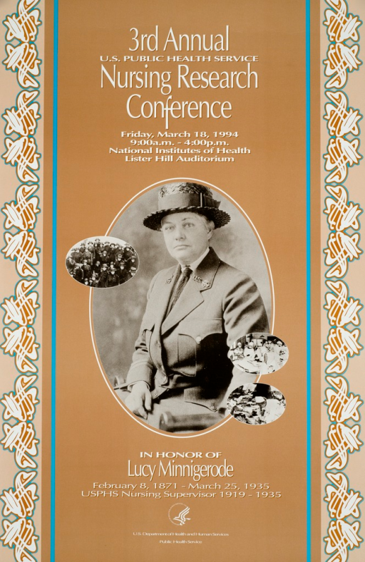 <p>The poster is primarily orange with a photograph of Lucy Minnigerode in the center. Title above photograph. Picture caption below photograph. Publisher information below picture caption.</p>
