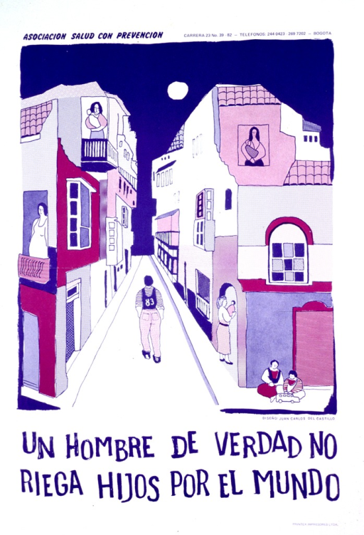 <p>White and purple poster with purple lettering.  Publisher information at top of poster.  Visual image is an illustration of a man walking down a street.  Children, women holding babies, and pregnant women appear in several windows and doorways.  Title below illustration.</p>