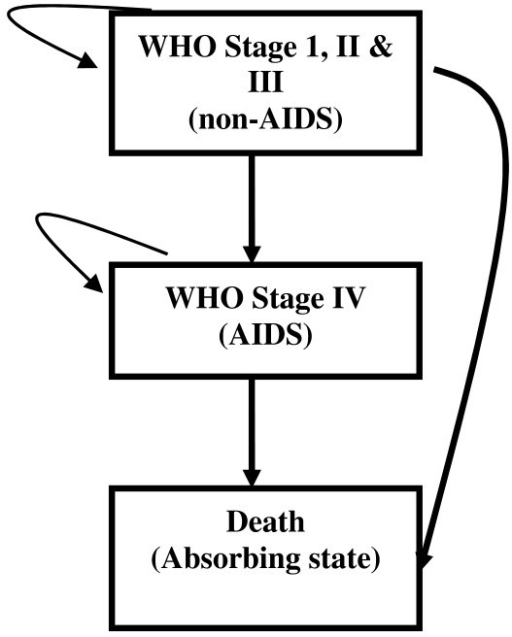 The Markov states and pattern of HIV disease progression.