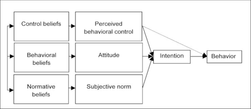 Theoretical framework of the theory of planned behavior.