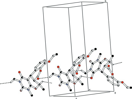 Crystal packing of the title compound, Hydrogen bonds are shown as dashed lines. For the sake of clarity, H atoms not involved in the interactions have been omitted.