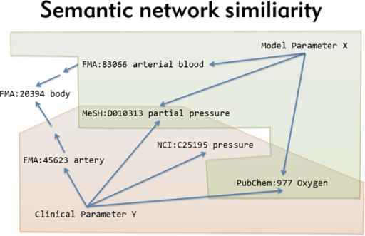 "Semantic network similarity. ""Equivalent"" meaning of different parameters is determined by the overlap of their corresponding semantic descriptors, taking into account transitive relations within and between ontologies."