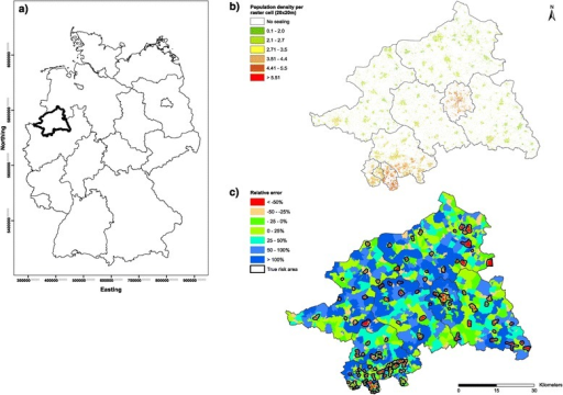 Overview of the used data sources. (a): Location of the study area in Germany. (b): Disaggregated, high resolution population grid using the EEA Fast Track Service Precursor on Land Monitoring dataset. (c): Relative errors of the disaggregated population estimates using reference data at census tract level (N = 1,983).