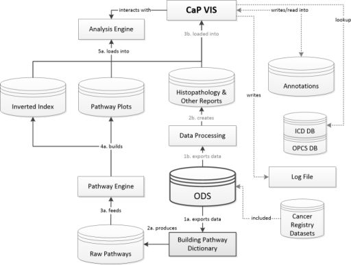Data flow diagram illustrating the relationship between the operational data store (ODS, in bold), the pathway and analysis engine, the carcinoma of the prostate visualization and interpretation system (CaP VIS), and other interactions including lookup databases (DB) for International Classification of Diseases (ICD) and OPCS (Office of Population Censuses and Surveys) coding. The two main processes that feed information into the CaP VIS system are enumerated. The pathways data follows steps 1a to 5a, while other information follows steps 1b to 3b. Secondary processes are highlighted with dotted lines.