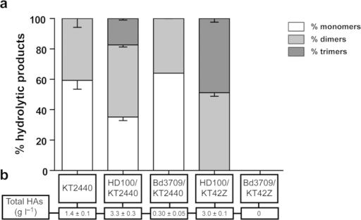 Mcl-PHA hydrolytic product profile identified in the co-culture supernatants of B. bacteriovorus strains preying on P. putida KT2440 and KT42Z accumulating mcl-PHA.(a) HPLC-MS analysis after 30 h of predation by Bdellovibrio strains. Monomers (white bars), dimers (light grey bars) and trimers (dark grey bars). Control supernatants of P. putida KT2440 and KT42Z are also shown. (b) Total PHA hydrolysis products quantified in the culture supernatants. No significant differences were observed between: (i) the percentage of monomers of the PHA extracted from KT2440 and Bd3709/KT2440, (ii) the percentage of dimers of KT2440 and HD100/KT2440, (iii) the percentage of dimers of KT2440 and Bd3709/KT2440, and (iv) the percentage of dimers of KT2440 and dimers of Bd3709/KT42Z. The rest of the conditions showed significant differences (P < 0.05) determined by ANOVA-test.