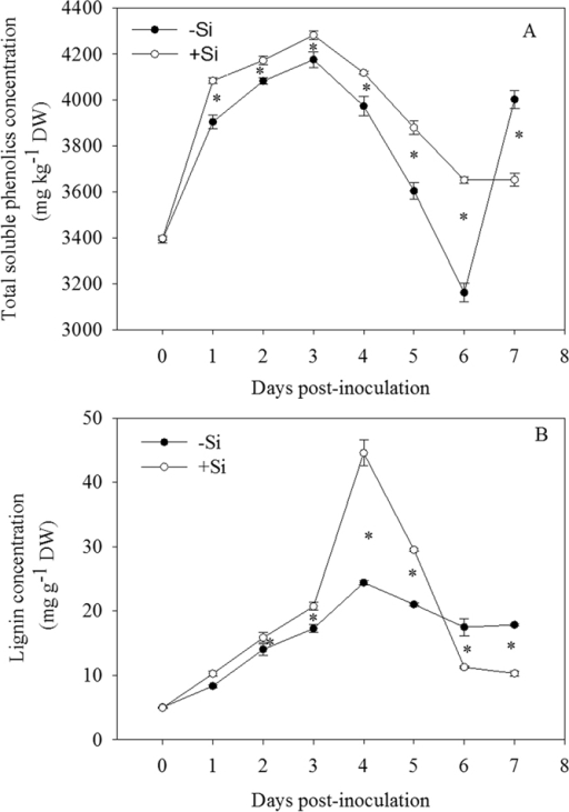 Changes in concentrations of total soluble phenolics (A) and lignin (B) in leaves of rice seedlings amended with silicon (+Si) or not (−Si) post-inoculation with Xoo. The values are means of three replications. Vertical lines represent standard deviations. Asterisks denote significant difference at P < 0.05 between +Si and −Si treatments at a same time-point according to Student's t-test.
