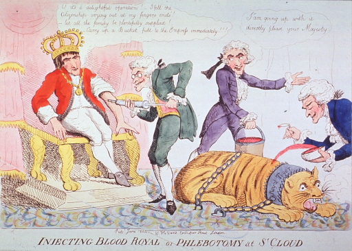 <p>Caricature:  Napoleon is sitting on the throne receiving an injection of tiger's blood; a tiger, chained to the floor, is being bled by a physician collecting blood spurting from the tiger's back, another physician carries off a bucket full of blood.</p>