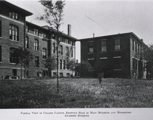 <p>Exterior view: rear of Main Building and Microscopic Anatomy Building.</p>