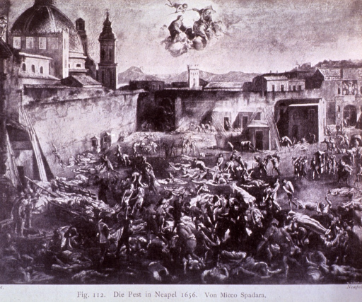 <p>Scene of the great plague of Naples.  Halftone of oil painting by unidentified artist, showing city square from bird's eye view, with plague victims scattered about.</p>