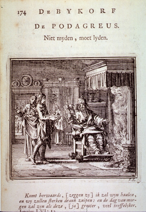 <p>An interior scene with a gouty man on a wheeled chair before a fire.</p>