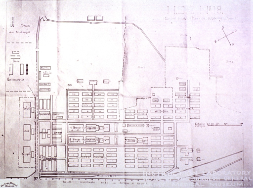 <p>Ground plan of a World War I French evacuation hospital.</p>