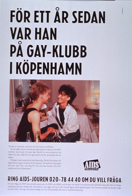 <p>Predominantly white poster with black and white lettering.  Title at top of poster.  Visual image is a color photo reproduction featuring a male-male couple seated on a couch and holding hands.  Lengthy caption below photo encourages communication between sexual partners about the risk of AIDS.  Publisher logo near caption text.  Hotline number for AIDS testing and information at bottom of poster.</p>