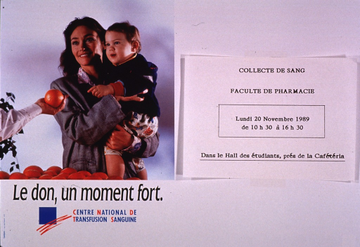<p>Predominantly white poster with multicolor lettering.  Visual image is a color photo reproduction featuring a woman holding a baby.  They stand in front of a display of oranges; a person outside of the photo holds up an orange, as if giving it to the baby.  Title and publisher information below photo.  Right side of poster is blank.</p>