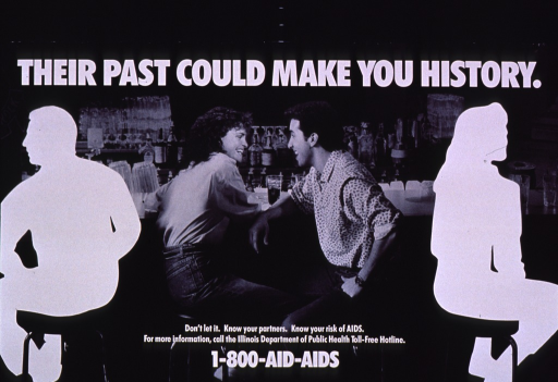 <p>Black and white poster with white lettering.  Title at top of poster.  Visual image is a b&amp;w photo reproduction featuring a male-female couple sitting at a bar.  They face each other, with their backs to the silhouettes of a woman and a man.  Caption and hotline number at bottom of poster.</p>
