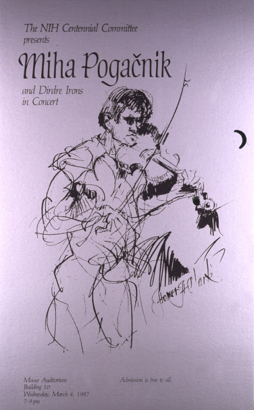 <p>A line drawing of a violinist is on a silver background.  The concert date is Mar. 4, 1987.</p>