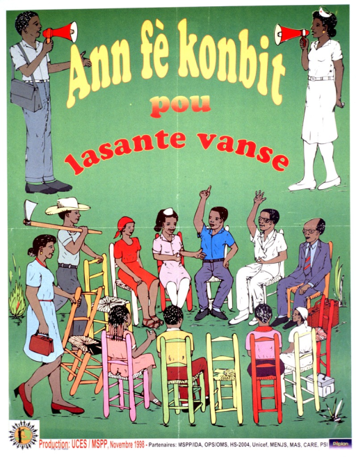 <p>Predominantly green poster with multicolor lettering.  Title in upper portion of poster.  Title appears to invite people to get together for health information/education.  Illustrations of a uniformed health worker and a man, both carrying bullhorns, appear at the sides of the title.  An illustration of a diverse group of people sitting in a circle is in the lower portion of poster.  Publisher and sponsor information at bottom of poster.</p>