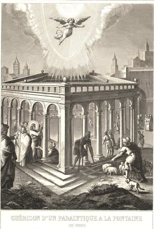 <p>A man using crutchs emerges from between the columns of a pentagonal open-air temple.  Christ stands between two other colums surrounded by the apostles.  He holds His hands up over a man who lies on the floor of the temple.  A shepherd is seen tending to lambs next to the temple.  Above the temple an angel hovers below the sun, the rays of which radiate below to the temple.</p>