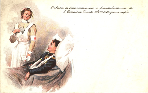 <p>Postcard featuring a color illustration of a nurse standing beside a young wounded soldier who is sitting in bed. The soldier has his right arm in a sling and his head is propped up with a pillow. The nurse holds letters in each of her hands.</p>